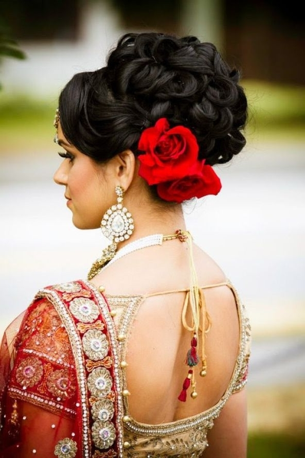 Shopzters | 20 Different Wedding Hairstyles And Floral Jewellery With Regard To Most Recent Indian Wedding Updo Hairstyles (View 14 of 15)
