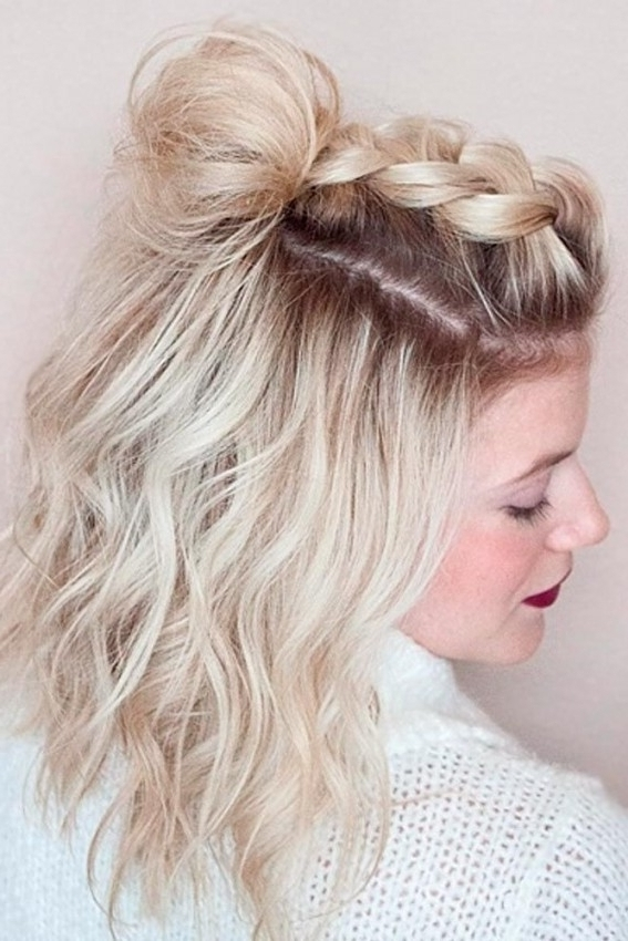 Short Hairstyles : Prom Hairstyles For Short Hair Half Up Half In With Newest Half Updo Hairstyles For Short Hair (View 11 of 15)