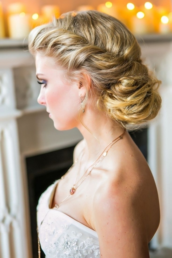 Attractive Side Updo Hairstyles For Long Hair Loose Side Curly Updo Bridal Within Most  Popular Side Updo
