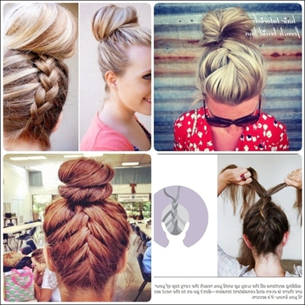 Simple French Braid Updo Hairstyles For Medium Hair | Bun Updo Intended For Most Recent Cute Updo Hairstyles For Medium Hair (View 2 of 15)