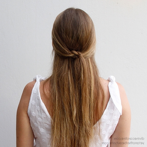 Simple Summer 'do: The Knotted Half Updo | More Pertaining To Most Recent Easy Long Hair Half Updo Hairstyles (View 15 of 15)