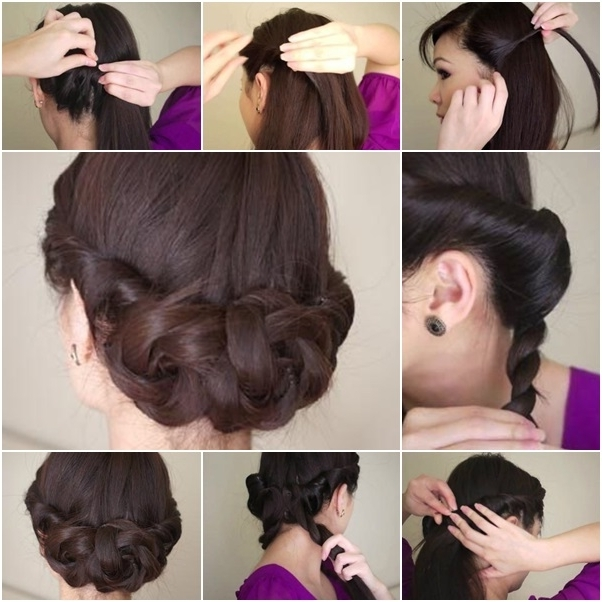 Simple Twisted Hair Updo Hairstyle For Mid Long Hair Intended For Most Recent Easy Diy Updos For Long Hair (View 6 of 15)