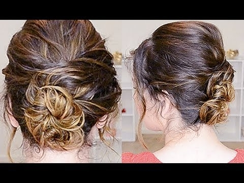 Simple Updo For Curly Hair – Youtube Within Recent Easy Updos For Wavy Hair (View 6 of 15)