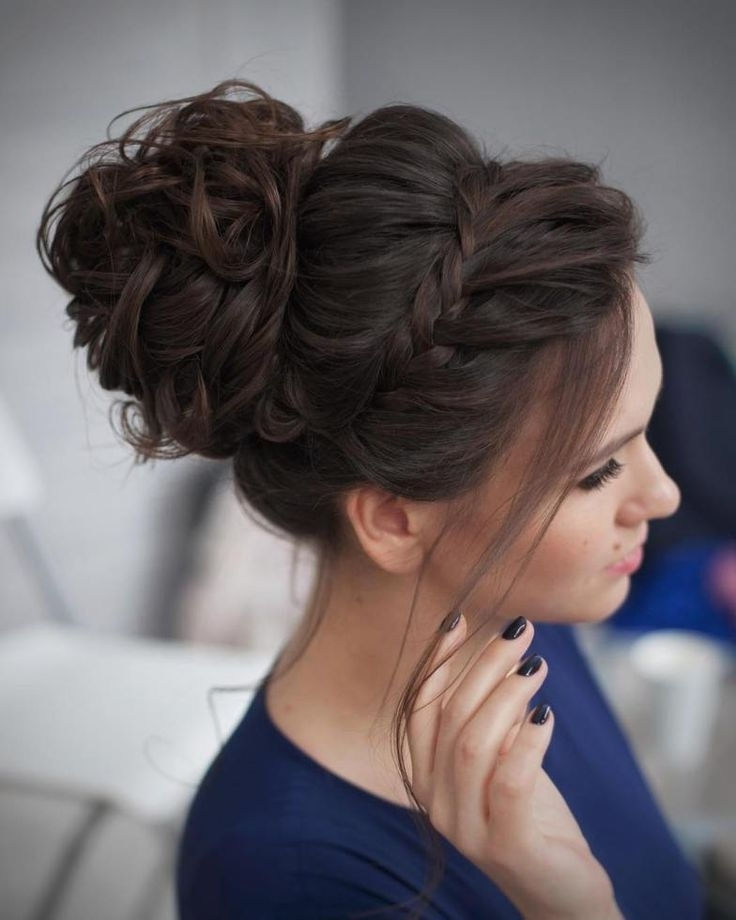 Style Up Messy Bun Hairstyle For Dramatic Romantic Bridal Beauty In Most Recent Messy Bun Updo Hairstyles (View 9 of 15)