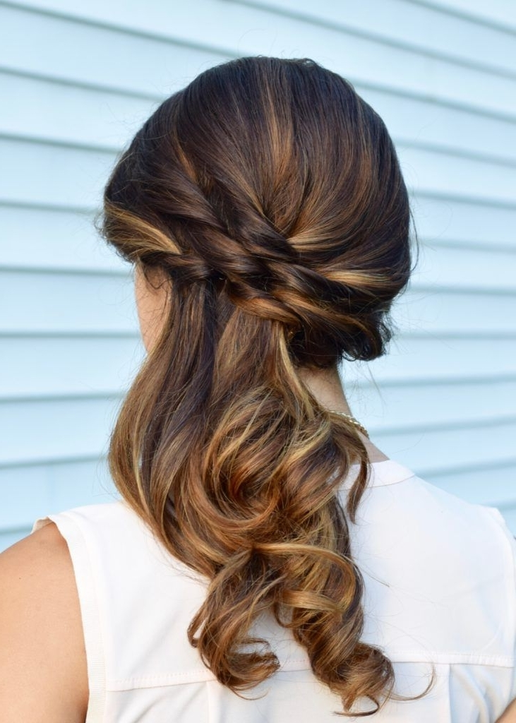 2018 Latest Long Hair Side Ponytail Updo Hairstyles