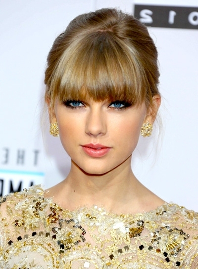 Taylor Swift | Bangs, Taylor Swift And Swift With 2018 Updo Hairstyles With Bangs (View 13 of 15)