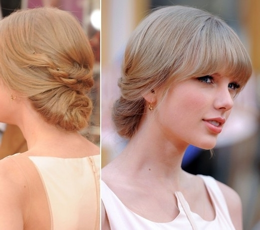 Taylor Swift Updo Hairstyles: Long Hair For Prom – Popular Haircuts For Most Recent Hairstyles For Long Hair With Bangs Updos (View 3 of 15)