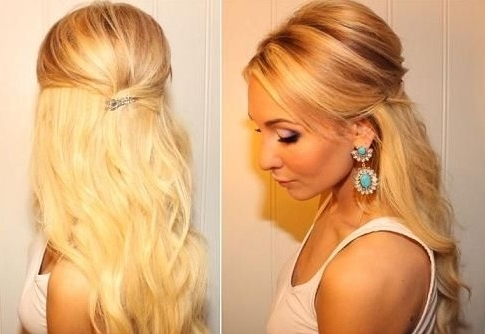 Teased Half Up Half Down Hairstyle Tutorial: Easy Prom Hairstyles Intended For Newest Teased Updo Hairstyles (View 13 of 15)