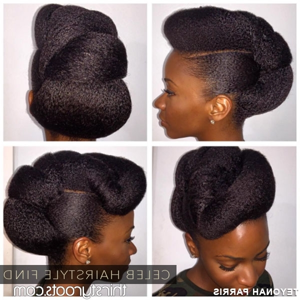 Teyonah Parris Natural Hair Twisted Updo Bun Hairstyle Inside Most Recently Natural Updo Bun Hairstyles (View 2 of 15)