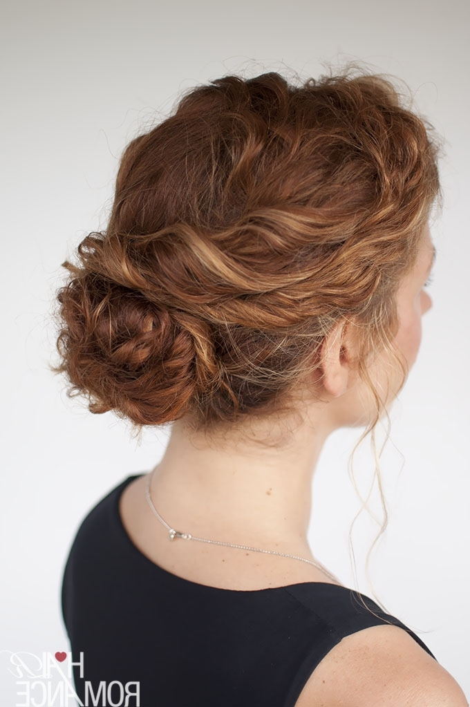 The Best Curly Hairstyle Tutorials For Frizzy Hair – Hair Romance In Recent Curly Bun Updo Hairstyles (View 14 of 15)