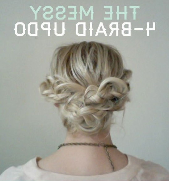 The Messy 4 Braid Updo For Medium Length Hair – 101 Pinterest Braids In Most Popular Messy Updos For Medium Length Hair (View 11 of 15)