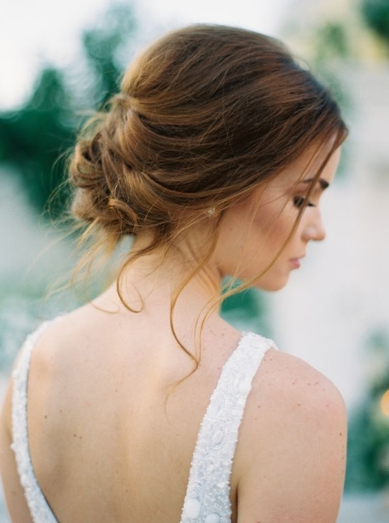 These Photos Prove Neutrals On Neutrals Is Wedding Palette Pertaining To Most Popular Bridesmaid Updo Hairstyles For Thin Hair (View 10 of 15)