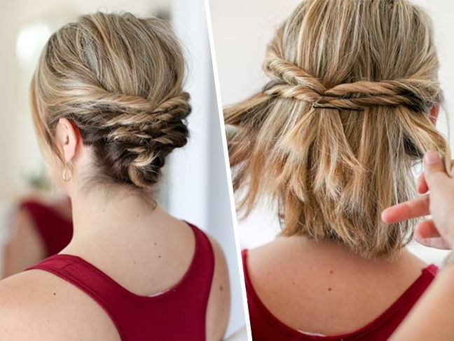 This Quick Messy Updo For Short Hair Is So Cool | Messy Updo, Updo Intended For Most Recent Bob Updo Hairstyles (View 7 of 15)