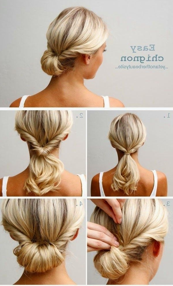 Top 10 Super Easy 5 Minute Hairstyles For Busy Ladies | Easy Updo Pertaining To Best And Newest Easy Bun Updo Hairstyles For Medium Hair (View 2 of 15)