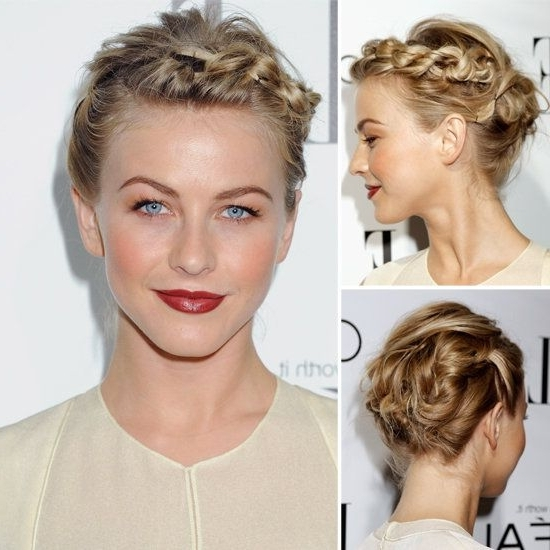 Try Julianne Hough's Braided Updo For Short Hair   Julianne Hough In Recent Julianne Ho Hairstylesugh Updo Hairstyles (View 8 of 15)