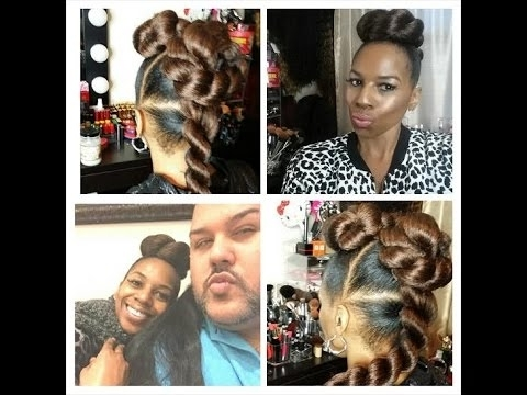 Twist Updo Tutorial W/kanekalon Hairhairbyraymond – Youtube In Latest Updo Hairstyles Using Kanekalon Hair (View 14 of 15)