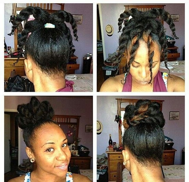 Twisted High Bun Natural Hair Updo #naturalhairstyle #naturalhair With Most Recently Updo Hairstyles For Medium Length Natural Hair (View 14 of 15)