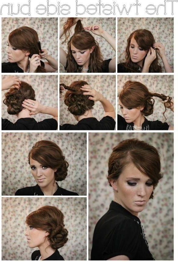 Twisted Side Bun Updo Hairstyles Tutorial – Popular Haircuts Throughout Most Current Diy Updo Hairstyles For Long Hair (View 13 of 15)