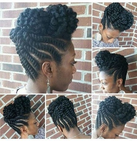 Twisted Updo Into A Beautiful Bang450X464 | Natural Hair | Pinterest Inside Most Recently Twisted Updo Natural Hairstyles (View 4 of 15)