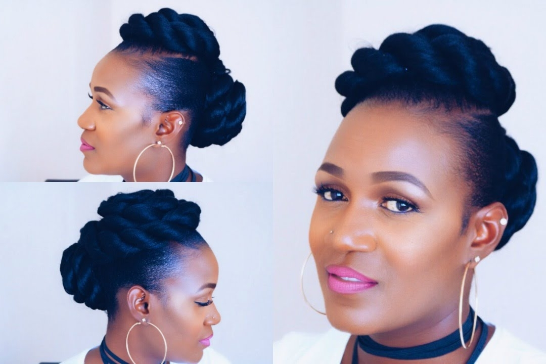 Twisted Updo On Short Natural Hair – Youtube In Latest Natural Hair Updos For Short Hair (View 4 of 15)