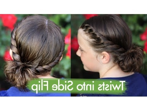 Twists Into Side Flip | Updos | Cute Girls Hairstyles – Youtube Intended For Current Cute Girls Updo Hairstyles (View 12 of 15)