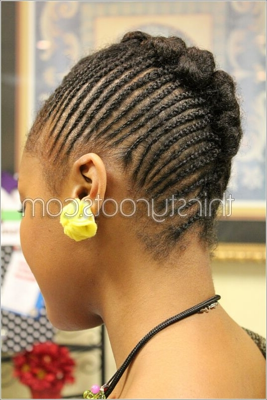 Updo Bun Within Latest Cornrow Updo Bun Hairstyles (View 10 of 15)
