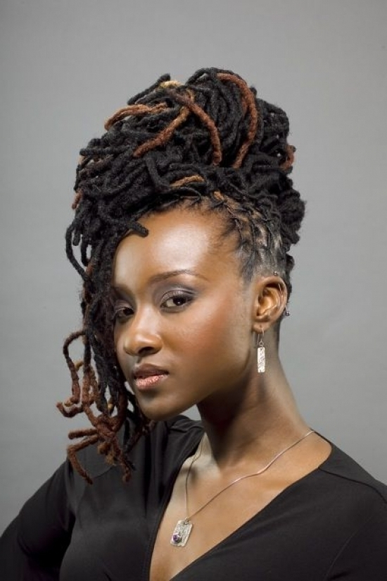 Updo Dreadlock Hairstyles Appropriate To For Performances At Night With Best And Newest Dreadlock Updo Hairstyles (View 14 of 15)