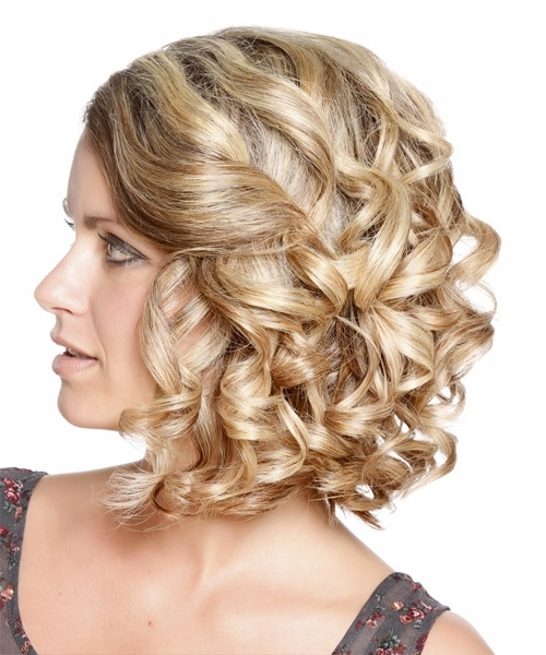 Updo Medium Curly Formal Updo Hairstyle – Medium Blonde With Most Up To Date Curly Updos For Medium Hair (View 13 of 15)