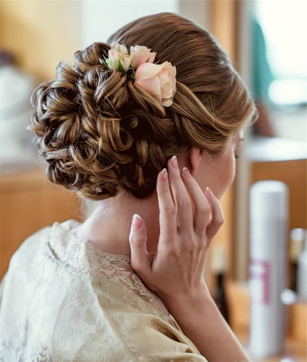 Updo Wedding Hairstyle With Pink Flower | Deer Pearl Flowers Regarding 2018 Updo Hairstyles With Flowers (View 10 of 15)