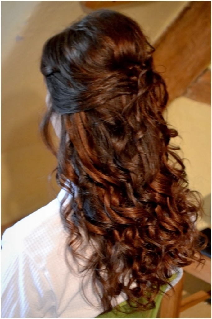 Wedding Hairstyle For Long Curly Hair Half Up Half Down Easy Wedding Within Latest Half Curly Updo Hairstyles (View 13 of 15)