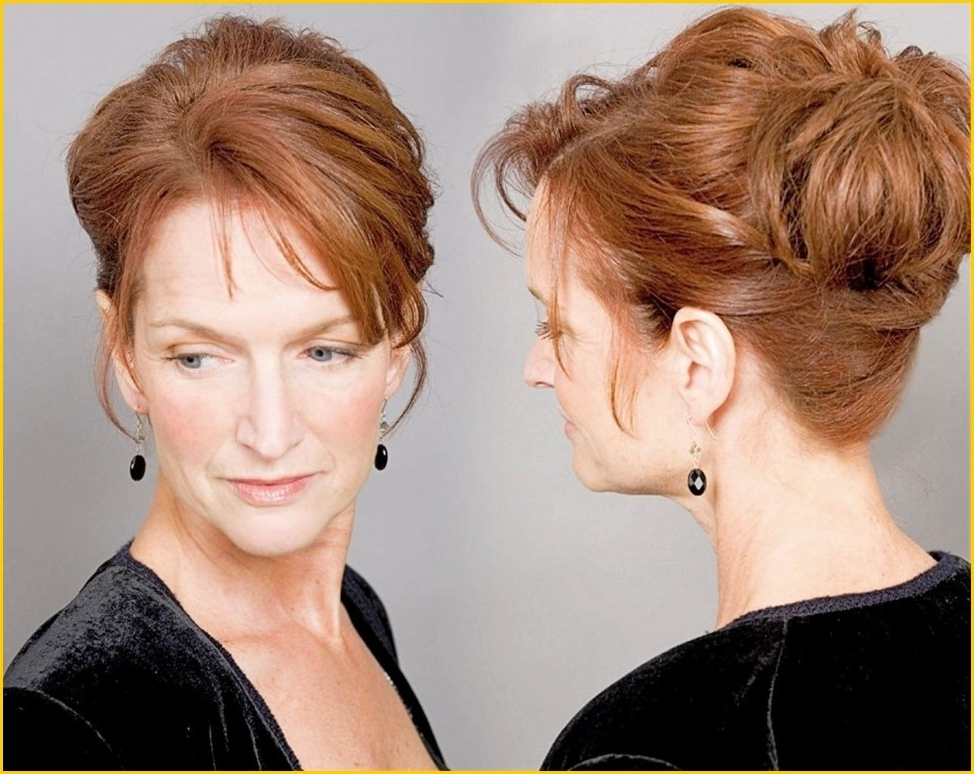 Wedding Hairstyles : Auburn Hair Color For Older Women Updo Mother Pertaining To Latest Updo Hairstyles For Older Women (View 13 of 15)