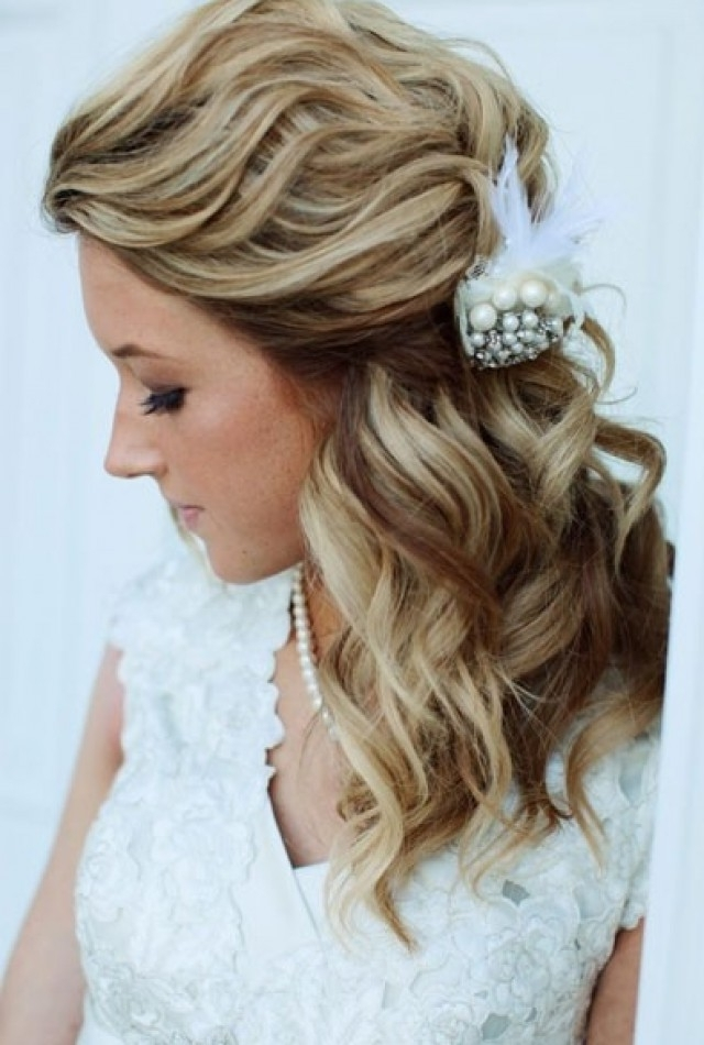 Wedding Hairstyles For Medium Hair Half Up And Half Down Bridal Within Latest Half Hair Updos For Medium Length Hair (View 14 of 15)