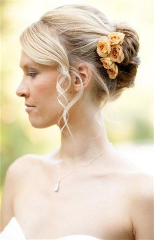 Wedding Hairstyles For Short Hair Bun And Curls | Weddinginclude Pertaining To Most Recently Updo Hairstyles For Short Hair For Wedding (View 14 of 15)
