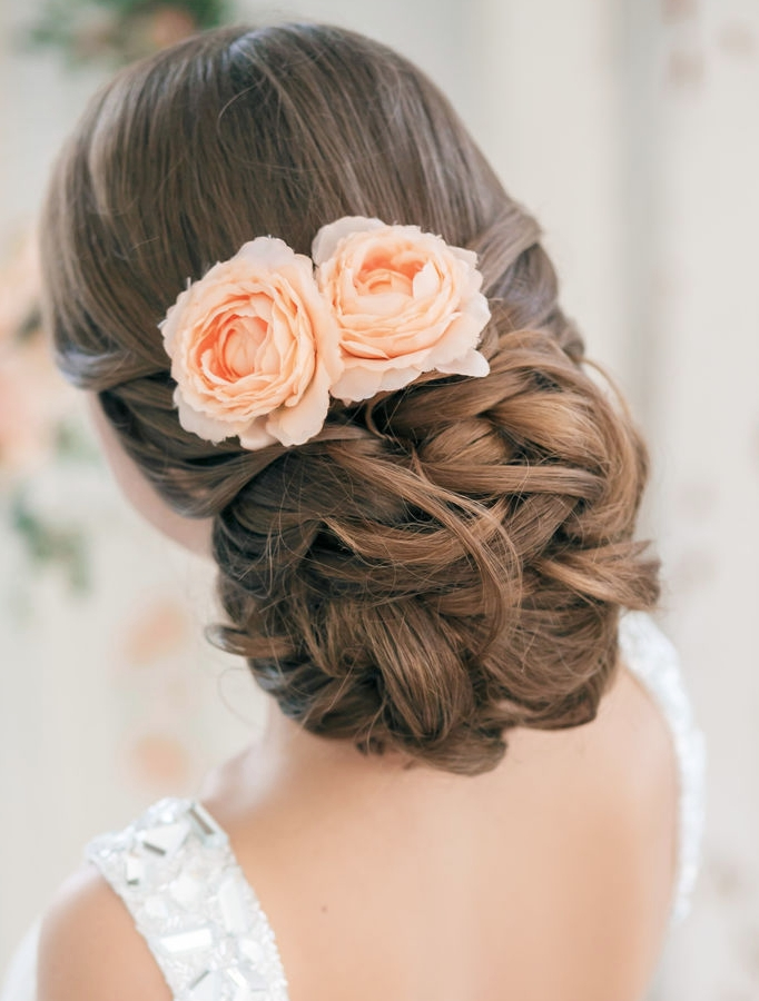 Wedding Hairstyles | Tulle & Chantilly Wedding Blog Intended For Most Recent Updo Hairstyles With Flowers (View 4 of 15)