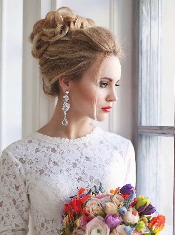 Wedding Top Bun Updo Hairstyle For Brides | Deer Pearl Flowers With Most Up To Date Wedding Bun Updo Hairstyles (View 5 of 15)