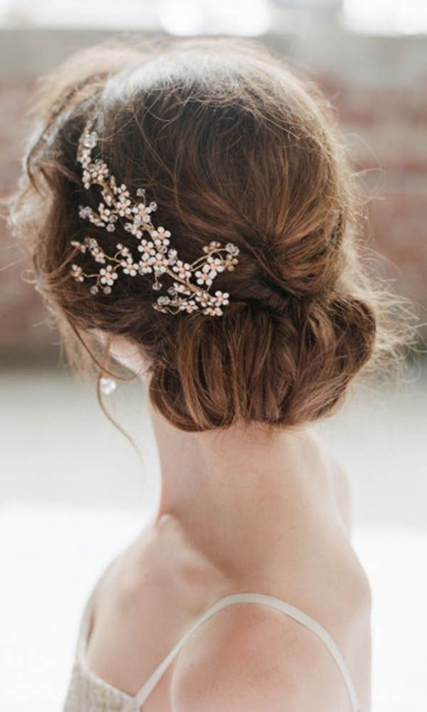 Wedding Updo Hairstyle With Flower Gold Hairpiece | Deer Pearl Flowers In Most Current Updo Hairstyles With Flowers (View 14 of 15)