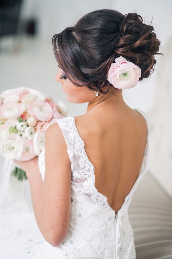 Wedding Updo Hairstyle With Pink Flower | Deer Pearl Flowers With Regard To Most Popular Updo Hairstyles With Flowers (View 14 of 15)