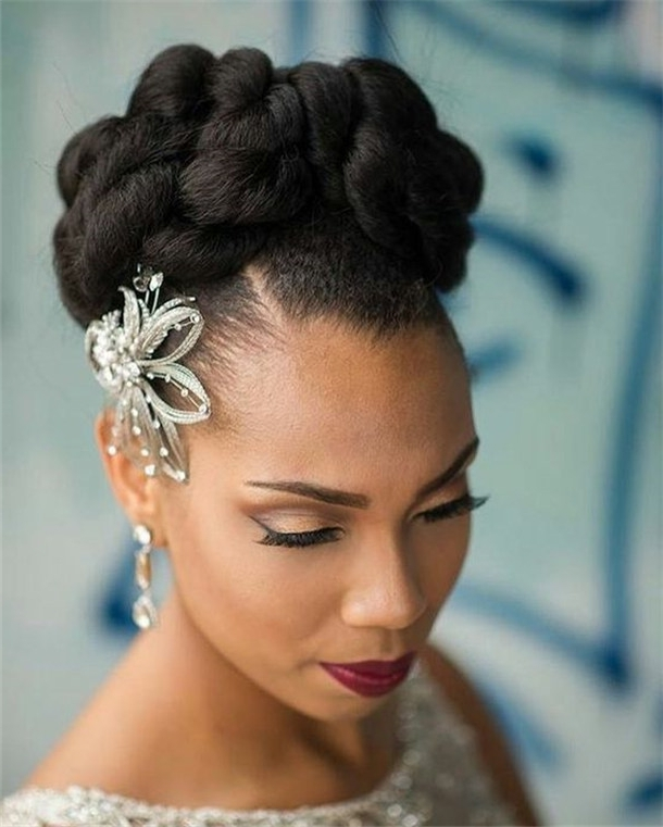 Wedding Updo Hairstyles For Black Brides In Current Updo Hairstyles For Black Bridesmaids (View 15 of 15)