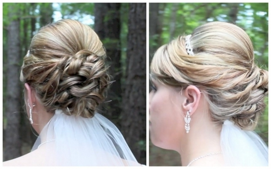 Wedding Updos Medium Hair Bridal Updo On Shoulder Length Hair Within Most Recently Wedding Updos For Medium Length Hair (View 14 of 15)