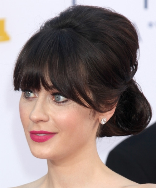 Zooey Deschanel Hairstyles In 2018 With Most Recent Updos For Long Hair With Bangs (View 8 of 15)