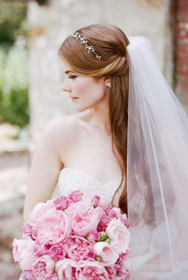 10 Cute Wedding Hairstyles For Long Hair With Veil In 2018 Within Wedding Hairstyles For Long Hair With Veil (View 1 of 15)