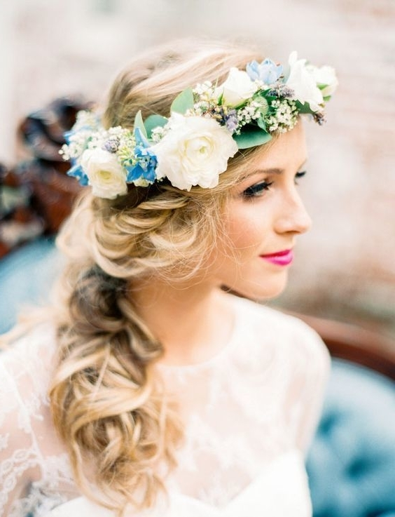 10 Flower Crown Hairstyles For Any Bride – Mywedding Inside Wedding Hairstyles With Crown (View 1 of 15)