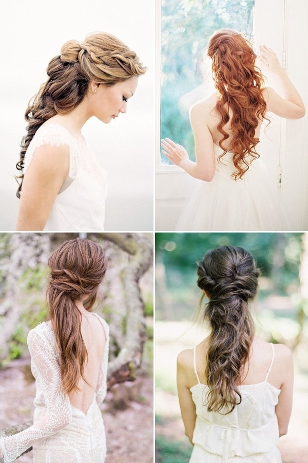 100+ Romantic Long Wedding Hairstyles 2018 – Curls, Half Up, Updos With Regard To Half Up With Veil Wedding Hairstyles (View 15 of 15)