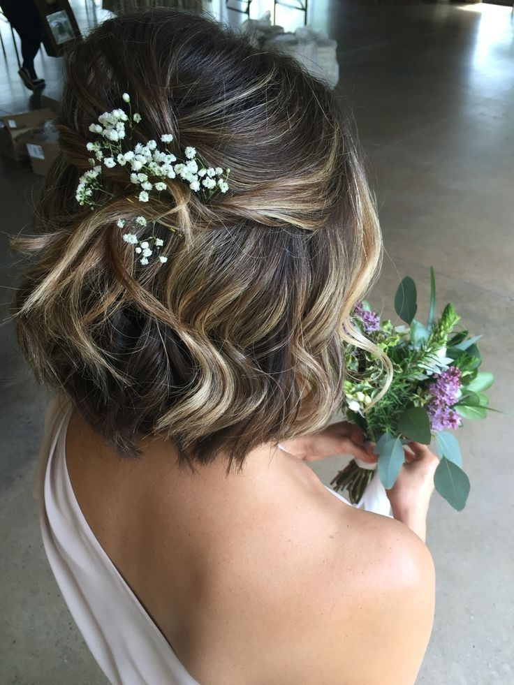 11 Cute & Romantic Hairstyle Ideas For Wedding | Pinterest | Short Intended For Down Short Hair Wedding Hairstyles (View 1 of 15)