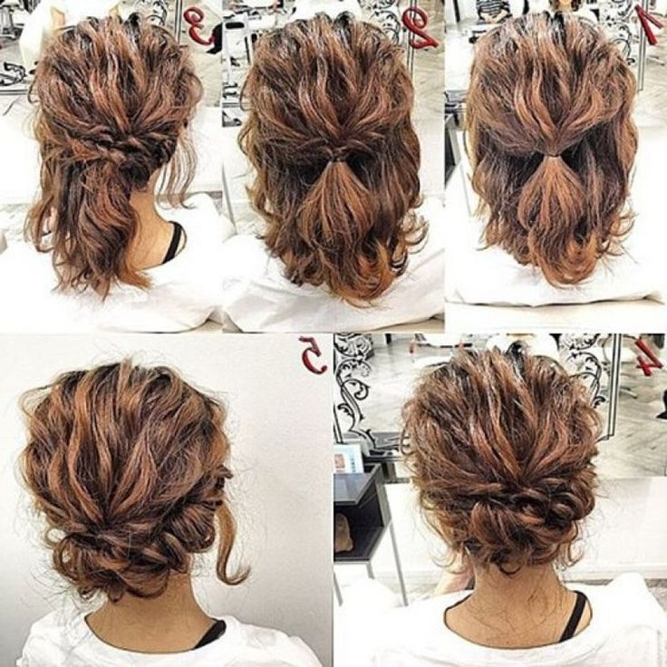 11 Cute Updos For Curly Hair 2017 | Pinterest | Short Curly Hair With Regard To Wedding Dinner Hairstyle For Short Hair (View 6 of 15)