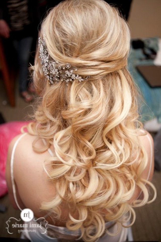 15 Fabulous Half Up Half Down Wedding Hairstyles With Wedding Down Hairstyles For Medium Length Hair (View 3 of 15)