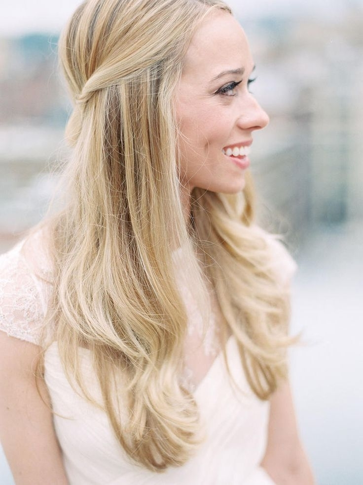 15 Half Up Wedding Hairstyles For Long Hair | Straight Hairstyles With Down Straight Wedding Hairstyles (View 1 of 15)