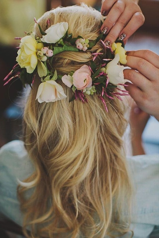 15 Latest Half Up Half Down Wedding Hairstyles For Trendy Brides With Regard To Long Wedding Hairstyles With Flowers In Hair (View 2 of 15)