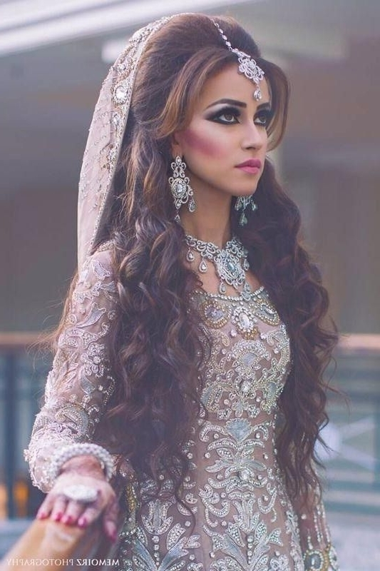 16 Glamorous Indian Wedding Hairstyles | Pinterest | Indian Wedding Throughout Wedding Hairstyles For Lehenga (View 14 of 15)