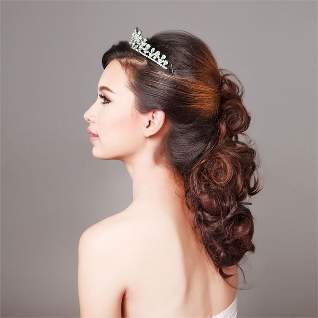 17 Best Wedding Hair Images On Pinterest | Bridal Hairstyles With Wedding Hairstyles Down With Tiara (View 1 of 15)